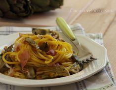 Spaghetti ai carciofi, zafferano e speck, un piatto gustoso, facile e leggero! Il sapore deciso dello speck si accompagna perfettamente ai carciofi.