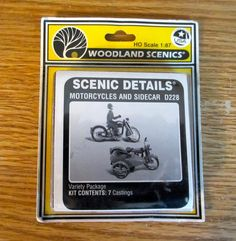 Woodland Scenics HO Motorcycles and a Sidecar Vehicle Figure Kit  D228