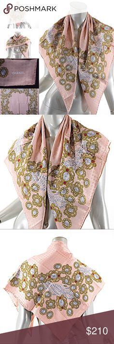 """Guar Auth CHANEL 100% Silk Muted Pink Jewel CHANEL NEW without tags100% SilkMade in Italy 34"""" x 34""""Gorgeous muted pink silk satin scarf - signature CC logo woven into the fabric(jacquard)in subtle finish - beautiful JEWEL detail is quite intricate in gold, gray chalk and red. Lovely piece. Beautifully done. Can be worn in many different ways, head scarf, shawl, belt, etc. 100% silk, hand rolled CHANEL Accessories Scarves & Wraps"""
