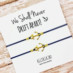 Set of Two Gold Anchor Friendship Bracelets  Anchor by AllyriaSky