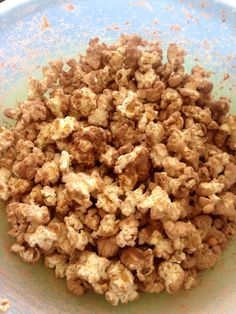 Protein Popcorn  -light microwave popcorn  -coconut oil spray  -1/2 scoop BSN Chocolate Milkshake Powder  -1/2 scoop BSN Peanut Butter Cookie powder