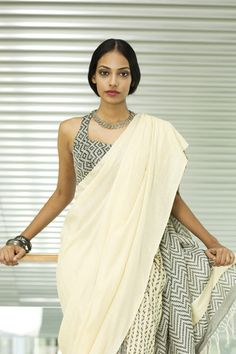 Charm rali - delivery from feb - order now indian fashi Cotton Blouses, Cotton Saree, Ethnic Fashion, Indian Fashion, Hot Wheels, Black And White Saree, Simple Sarees, Sari Blouse Designs, Latest Sarees