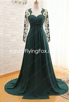 fancyflyingfox.com Offers High Quality Jewel Neckline Long Sleeves Green Mother Of The Bride Dress ,Priced At Only US$178.00 (Free Shipping)