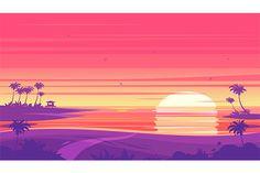 Sunset beach landscape  (vector) by Krol on @creativemarket