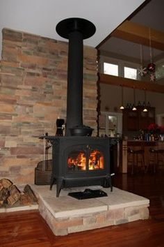 Wood Stove With Raised Hearth Design Ideas, Pictures, Remodel and Decor
