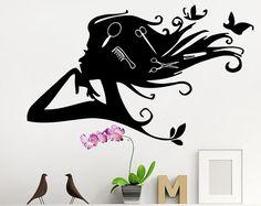 Salón de belleza etiquetas tijera peines pared calcomanías chicas peluquería pegatinas salón tienda ventana decoración T259