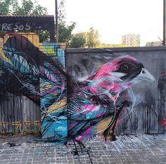 Artist L7m new nature in Street Art mural located in Barcelona, Spain #art #graffiti #L7m #streetart
