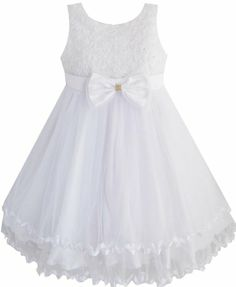 Amazon.com: EE52 Girls Dress White Pearl Tulle Layers Wedding Pageant Flower Girl Size 4-5: Clothing