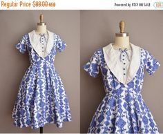 20% OFF SALE... vintage 1950s dress / blue by simplicityisbliss