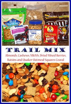 For a few years now I've been making trail mix for us to snack on ave we just love it! And the weird thing is, when I was pregnant with Ma. Lunch Snacks, Yummy Snacks, Healthy Snacks, Yummy Food, Kid Snacks, Camping Snacks, Stay Healthy, Eating Healthy, Yummy Treats