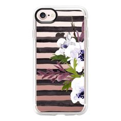 Floral Stripe - 2 - iPhone 7 Case And Cover ($40) ❤ liked on Polyvore featuring accessories, tech accessories, iphone case, apple iphone case, iphone cases, clear iphone case, clear floral iphone case and iphone cover case