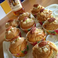 Captain Morgan's Spiced Rum and Pecan Cupcakes with a Rum glaze, sweet Ginger chunks and Lime zest.