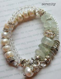 ON SALE wrap bracelet, craziolite bracelet, pearl bracelet, multi strand bracelet, wedding bracelet, chunky bracelet, free shipping
