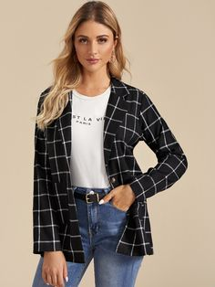 Lapel Neck Single Button Plaid Blazer #Sponsored , #Affiliate, #Single#Neck#Lapel Blazers, Classic Halloween Costumes, Plaid Blazer, Button, Jackets, Women, Fashion, Down Jackets, Moda