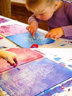 Exploring Color with Monoprinting. Blogger used it as an activity for her 2.5 yr old and 4.5 yr old