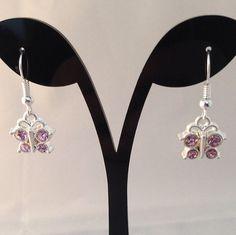 butterfly earrings butterfly pink jewel by BrowniesCRAFTBOX