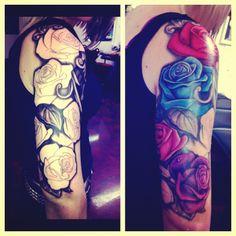 Rose half sleeve tattoo leafs black and white