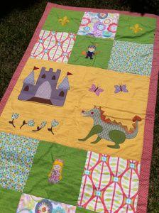 Colcha patchwork Caballero, princesa y dragón. Jan et Jul