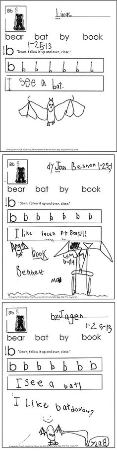 "Sample pages from ""Kindergarten-Friendly Handwriting, Phonics, and Word Work."" by Nellie Edge. Our goal in these short handwriting, phonics, and word work lessons is to help children focus, review handwriting skills, and practice in an authentic context. Notice that each page is unique and includes opportunity for creative thinking and writing."