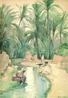At the oasis, Algers by Elizabeth Nourse, watercolour