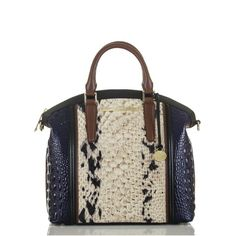 Large Duxbury Satchel - Creme Carlisle -This bag has Black, Brown, Cream and Navy color details making it the perfect neutral blend to wear with anything.