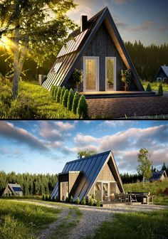 1 _ The World's Largest Collection of Woodworking Plans! 2 _ Start building amazing sheds the easier way. with a collection of shed plans! A Frame House Plans, A Frame Cabin, Tiny House Cabin, Cabin Homes, Tiny Homes, Triangle House, Cabin Design, Building A Shed, Shed Plans