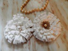 Set of 10   Fabric flower 4 diameter  rustic by MadeInBurlap, $20.00