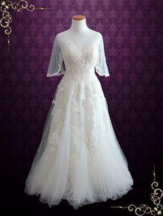 Vintage Lace Tulle Wedding Dress with Half Sleeves  Sophia