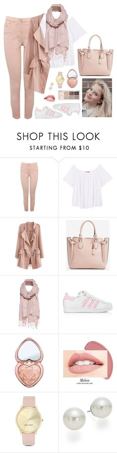 """""""affordable vilde hellerud-inspired outfit"""" by moon-grrrl ❤ liked on Polyvore featuring M&Co, MANGO, JustFab, adidas, Too Faced Cosmetics, Nine West, AK Anne Klein, characteroutfit, skam and vilde"""