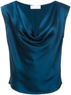 Shop online blue Fleur Du Mal cowl neck blouse as well as new season, new arrivals daily. Ärmelloser Pullover, Sheer Black Shirt, Black Mesh Top, Look Fashion, Fashion Design, Cowl Neck Top, Cowl Neck Dress, Sleeveless Hoodie, Dandy