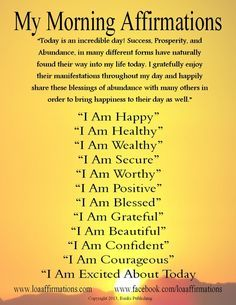 """Vision Boards And Affirmations   Vision Board / Hi everyone! Here is a """"Morning Affirmations"""" poster I ..."""