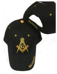 a13d8469505 Masonic Baseball Cap - Freemason Black Adjustable Hat  fashion  clothing   shoes  accessories