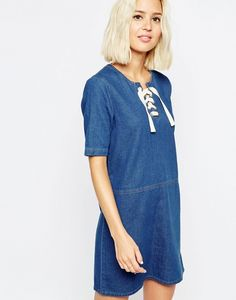 ASOS Denim Tunic Lace Up Front Dress