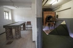 WWII-The autopsy room [L] and the crematorium oven that was used by the Gestapo at the former Nazi concentration camp Mauthausen in northern Austria. [AP/Joe Klamar]