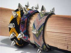 Friendship bracelets with punk spikes by CAPRICIOUSGIFTEXCH