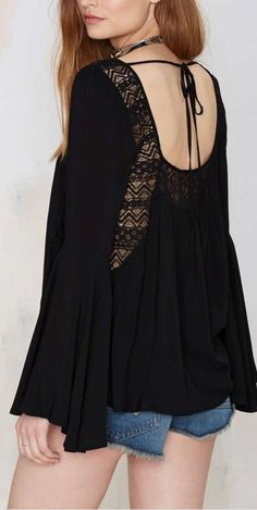 black water peasant lace blouse