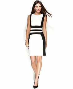 Calvin Klein Dress, Sleeveless Colorblock Sheath