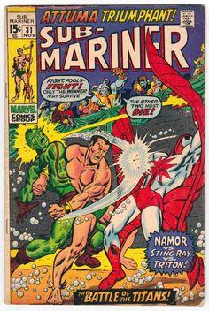 Sub-Mariner #31 (1970) Sal Buscema Cover Art & Pencils. Stan Lee Editor. Roy Thomas Story.