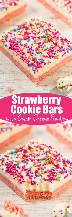 Strawberry Cookie Bars with Vanilla Cream Cheese Frosting - Soft, chewy, and bursting with strawberry flavor!! The frosting and sprinkles make these easy, goof-proof bars taste even better! Perfect for parties and holidays!!