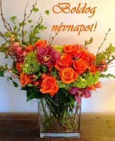 flower arrangement of orange roses, green hypericum… Green Bouquet Floral Design; flower arrangement of orange roses,. Deco Floral, Arte Floral, Floral Design, Ikebana, Orange Flowers, Silk Flowers, Rose Flowers, Flowers For Men, Purple Roses