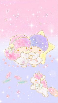 little twin stars 57 Sanrio Wallpaper, My Melody Wallpaper, Star Wallpaper, Hello Kitty Wallpaper, Wallpaper Iphone Disney, Kawaii Wallpaper, Cute Wallpaper Backgrounds, Cute Wallpapers, Little Twin Stars