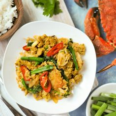 Succulent crab meat stir fried with eggs, curry powder, and green onions form the basis of this delicious Thai dish (bu pad pong karee)
