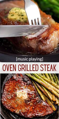 Make the perfect melt-in-your-mouth steak with this easy recipe for Oven Grilled Steak. Delicious, tender, and real juicy thick-cut steak grilled in the oven! #steak #valentinesdaydinner Oven Grilled Steak Recipe, Steak In Oven, How To Grill Steak, Steak Recipes, Recipe Videos, Food Videos, Perfect Steak, Summer Snacks, Yummy Eats
