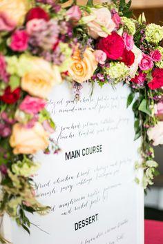 flower adorned menu