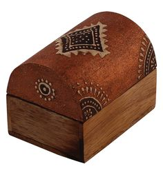 """Bulk Wholesale Handmade 3"""" Trunk-Shaped Mango-Wood Jewelry Box / Trinket Box in Rust-Brown & Natural-Wood Color Decorated with Traditional-Look Motifs in Cone-Painting Art – Ethnic-Look Boxes from India"""
