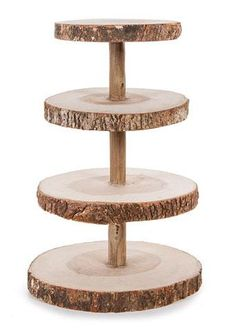 David Tutera™ wood cupcake stands available at Afloral.com for your rustic fall wedding decorations. 4 tiers made of natural wood slices. Find wood slabs, too!