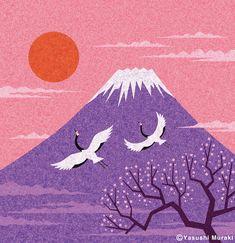 Illustration - Fuji Mountain / Photoshop on Behance Japan Illustration, Mountain Illustration, Fuji Mountain, Mountain Art, Mountain Drawing, Winter Mountain, Inspiration Art, Art Inspo, Japanese Mountains