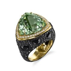 For Sale on - Colorful Green Prasiolite Spinel Black Diamond Triangle Cocktail Ring features a trillion cut green Prasiolite, White diamond trim, black diamond pave, Purple Diamond, White Gold Diamonds, Black Diamond, Opal Rock, Rock Rings, Yellow Quartz, Pear Shaped Diamond, Yellow Gold Rings, Cocktail Rings