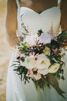 Loose Bridal Bouquet With Striped Ribbon | photography by chantelmarie.com/