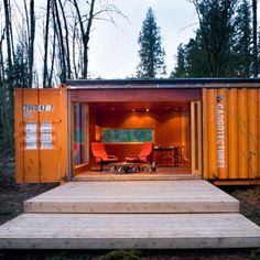 Backyard studio made from an old shipping container, Aberdeen, WA; by HyBrid Architecture